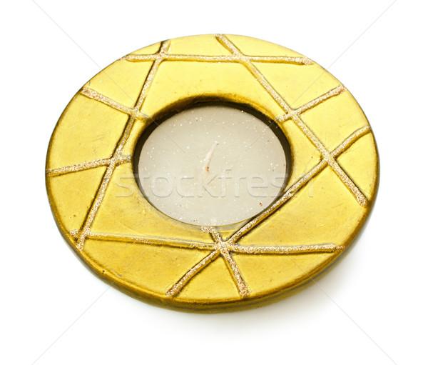 świecznik żółty odizolowany biały szkła Świeca Zdjęcia stock © PetrMalyshev