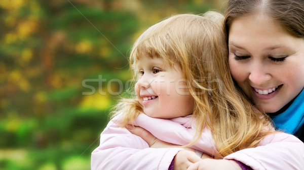 Beautiful Girl and Mom Portrait Stock photo © PetrMalyshev
