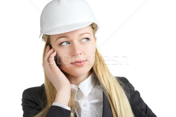 üzletasszony beszél mobiltelefon mérnök nő izolált Stock fotó © PetrMalyshev
