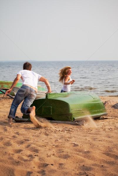 Сток-фото: весело · запустить · вокруг · старые · лодка