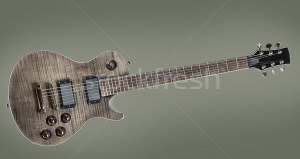 Zwarte elektrische gitaar grijs hout concert geluid Stockfoto © PetrMalyshev