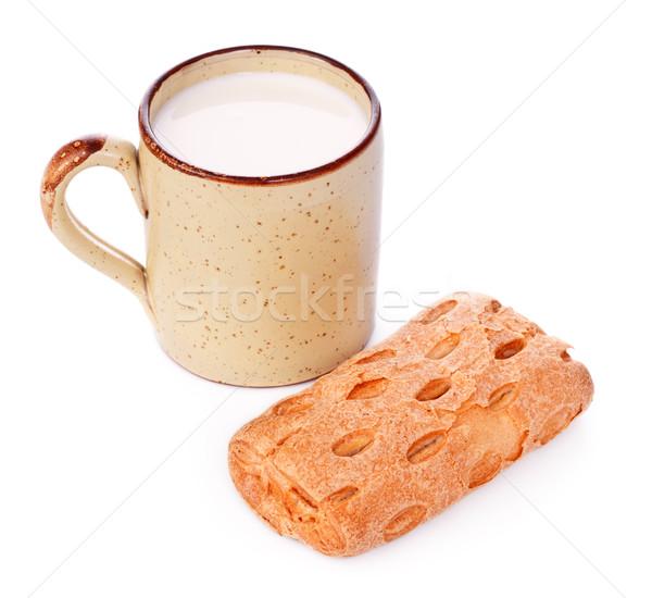 Crispy Bun and Mug of Milk Stock photo © PetrMalyshev