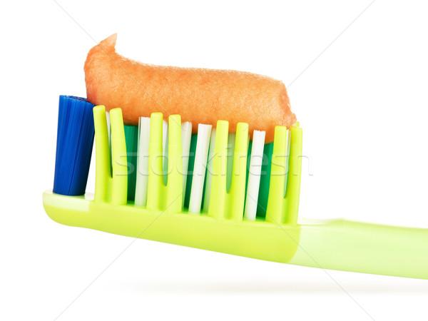 緑 歯ブラシ 歯磨き粉 孤立した 白 ストックフォト © PetrMalyshev