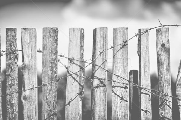 çit dikenli tel eski ahşap paslı gökyüzü Stok fotoğraf © PetrMalyshev