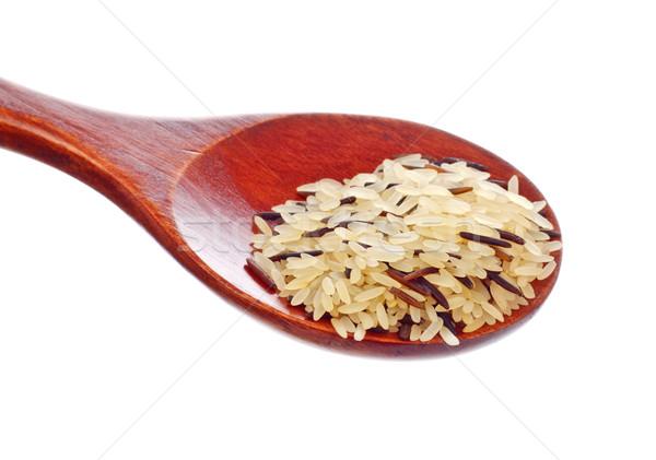 rice blend in wooden spoon Stock photo © PetrMalyshev