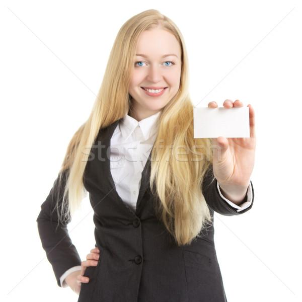 Businesswoman With Blank Card Stock photo © PetrMalyshev