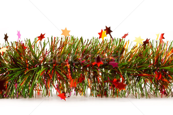 christmas tinsel garland with stars Stock photo © PetrMalyshev