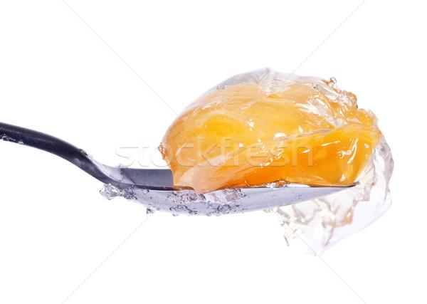 Mandarijn- gelei lepel witte vruchten staal Stockfoto © PetrMalyshev