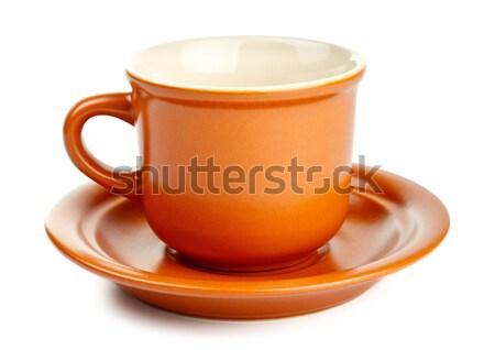 Taza de café platillo aislado blanco vacío cerámica Foto stock © PetrMalyshev