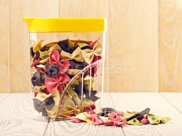 Raw Bow Tie Pasta In Jar Stock photo © PetrMalyshev