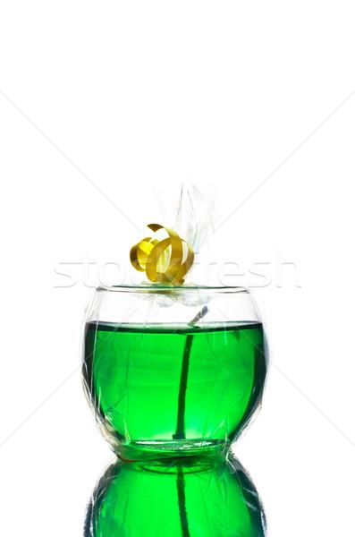 Zöld gél gyertya izolált fehér fény Stock fotó © PetrMalyshev