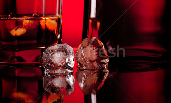 two ice cube and whiskey Stock photo © PetrMalyshev