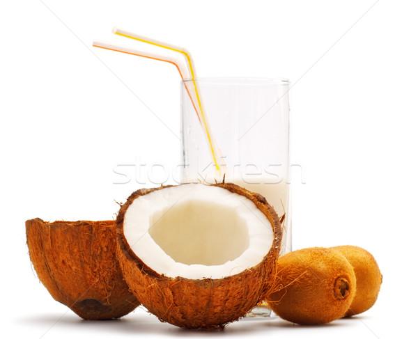 coconut, kiwi and glass with coco milk Stock photo © PetrMalyshev