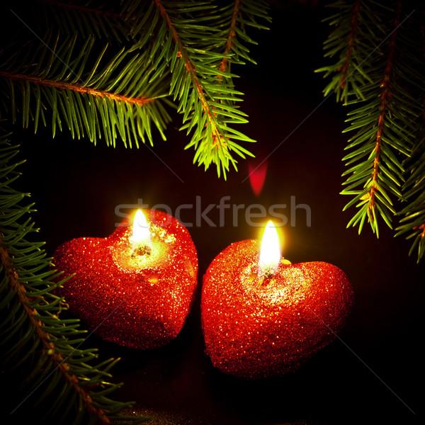 Twee kaarsen liefde Rood zwarte Stockfoto © PetrMalyshev