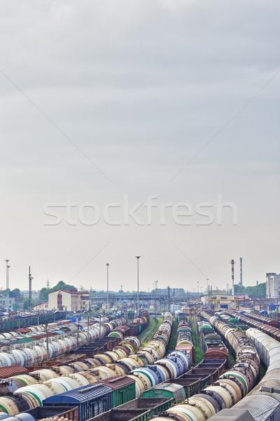 железнодорожная станция груза поездов облака городского промышленности Сток-фото © PetrMalyshev