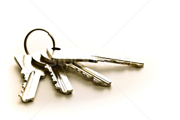 Cztery klucze odizolowany biały tle blokady Zdjęcia stock © PetrMalyshev