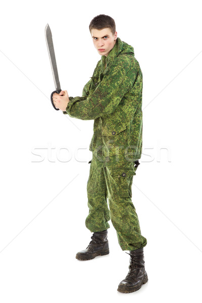 Military Man With Knife Stock photo © PetrMalyshev