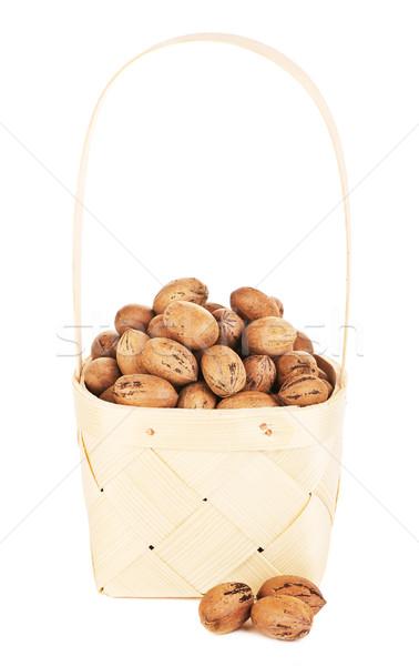 ナッツ 木製 バスケット 孤立した 白 木材 ストックフォト © PetrMalyshev