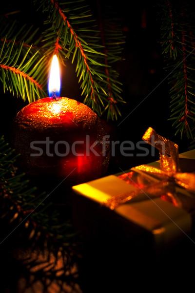 Kaars geschenkdoos liefde bal Rood Stockfoto © PetrMalyshev