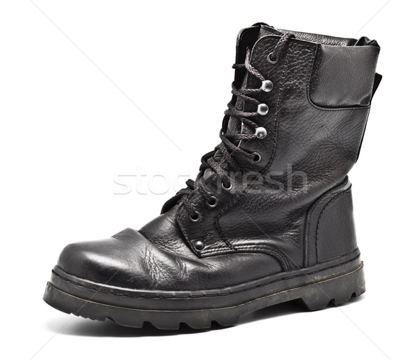 Black Leather Army Boot Stock photo © PetrMalyshev
