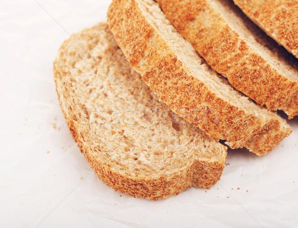 Teljes kiőrlésű fehér kenyér szeletel papír étel reggeli Stock fotó © PetrMalyshev