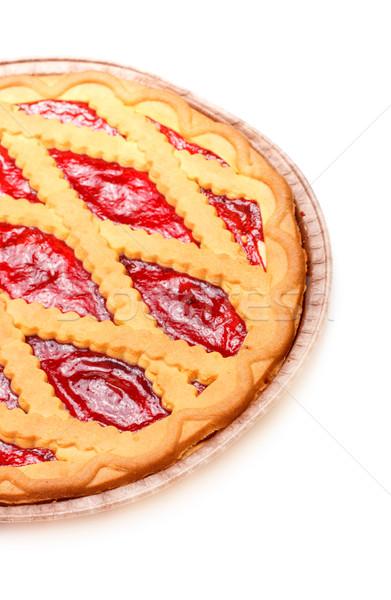 Cherry pie pie wiśniowe jam odizolowany biały Zdjęcia stock © PetrMalyshev