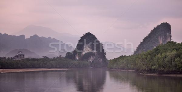 Stok fotoğraf: Krabi · kayalar · tan · Tayland · gökyüzü