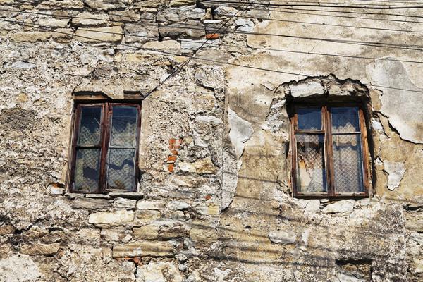 Ablak elhagyatott ház kettő nap textúra Stock fotó © PetrMalyshev