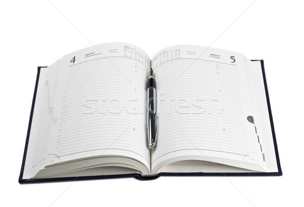 Füller geöffnet Tagebuch isoliert weiß Büro Stock foto © PetrMalyshev