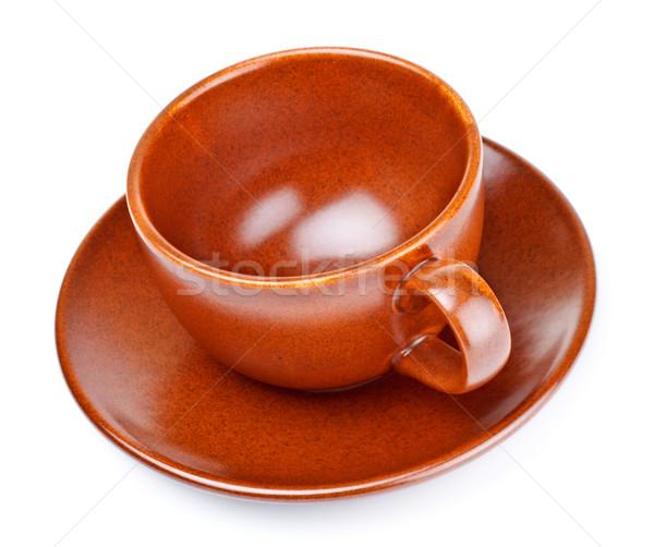Tasse de café soucoupe isolé blanche vide poterie Photo stock © PetrMalyshev