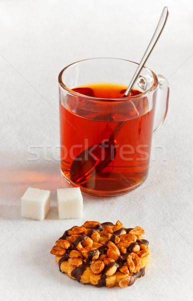 Té cookie terrones de azúcar mesa fitness chocolate Foto stock © PetrMalyshev