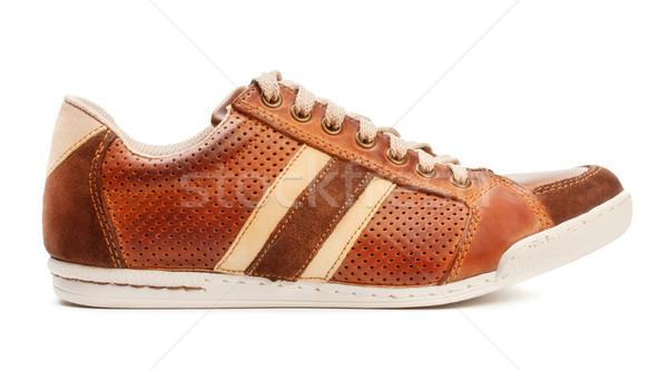 Sportu buty brązowy skóry trener odizolowany Zdjęcia stock © PetrMalyshev