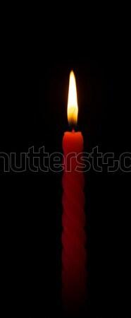 Brandend kaars wax zwarte brand achtergrond Stockfoto © PetrMalyshev