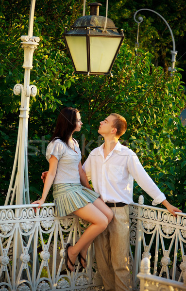 couple in a park under old streetlamp Stock photo © PetrMalyshev