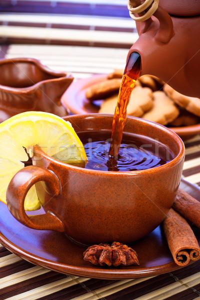 Stock photo: pouring tea