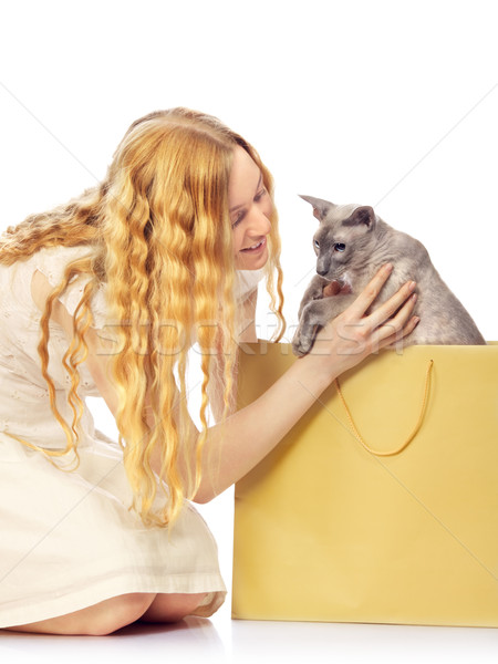Girl Bought a Cat Stock photo © PetrMalyshev
