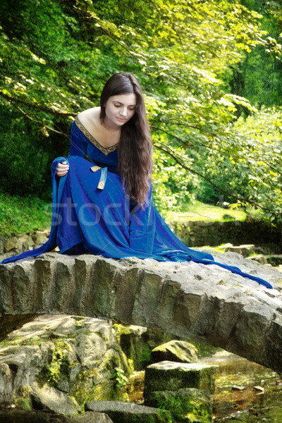 medieval princess on stone bridge Stock photo © PetrMalyshev