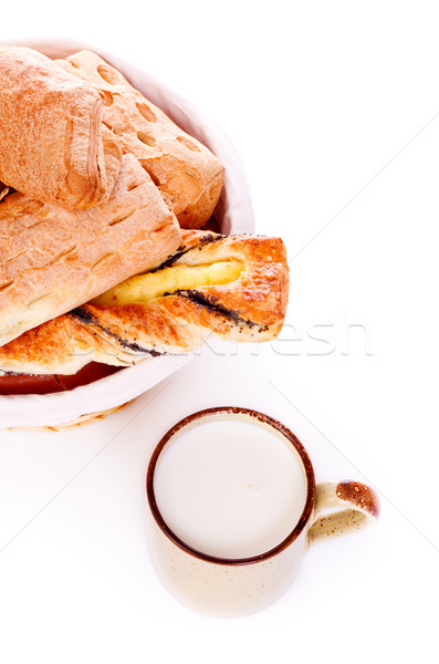 Bread Basket and Mug of Milk Stock photo © PetrMalyshev