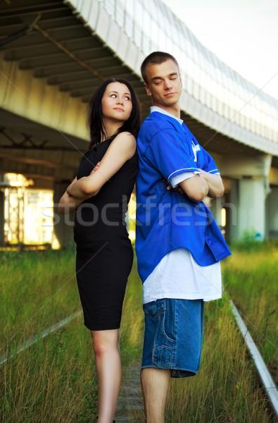 Casal mulher homem menino industrial Foto stock © PetrMalyshev