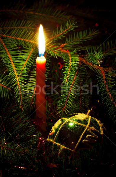 Kaars decoratie bal liefde Rood Stockfoto © PetrMalyshev