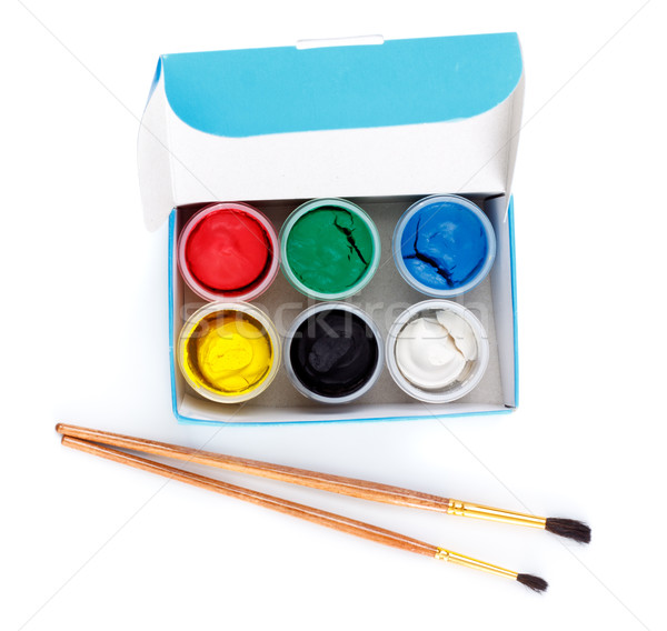 Paint Box and Brushes Stock photo © PetrMalyshev