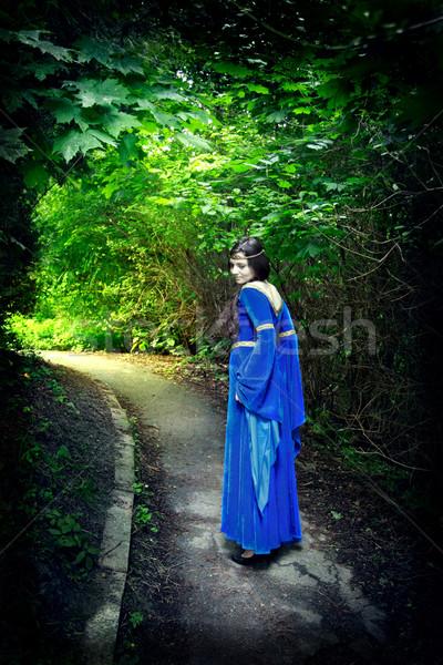 princess walk through darkest forest Stock photo © PetrMalyshev