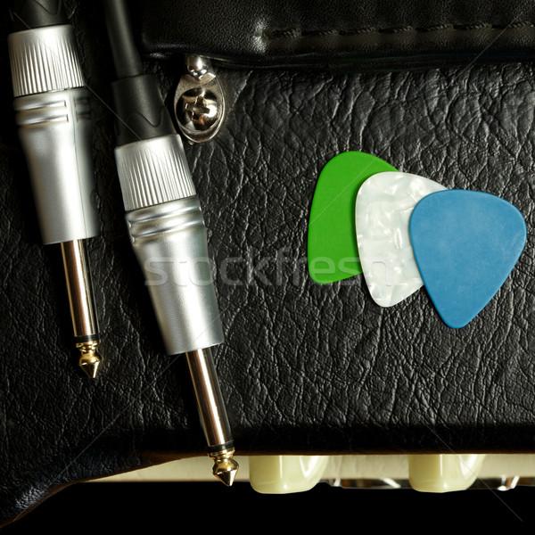 Gitaar kabel muziek hout geluid foto Stockfoto © PetrMalyshev