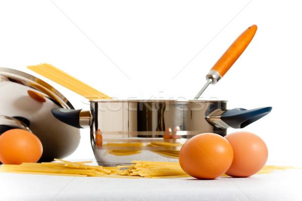 Cottura spaghetti uova utensile da cucina bianco uovo Foto d'archivio © PetrMalyshev
