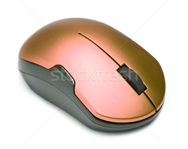 беспроводных Компьютерная мышь изолированный белый фон красный Сток-фото © PetrMalyshev