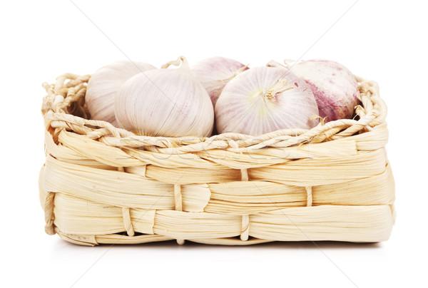 Chinese Solo Garlic In Basket Stock photo © PetrMalyshev