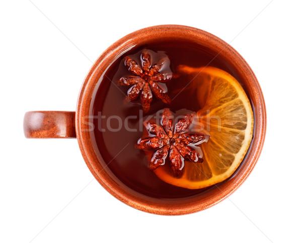 Chá canela estrela anis copo comida Foto stock © PetrMalyshev