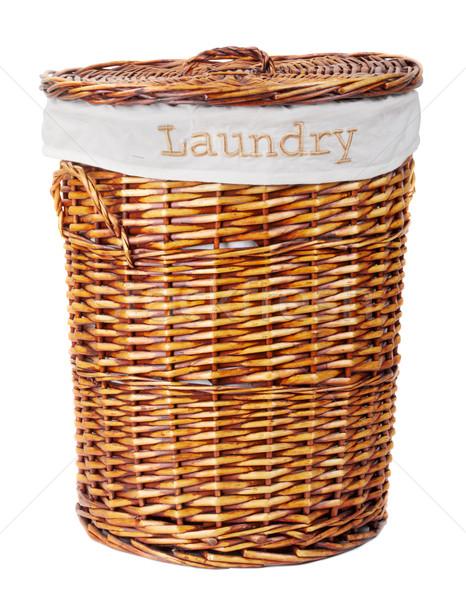 Cestino di lavanderia legno isolato bianco moda tessuto Foto d'archivio © PetrMalyshev