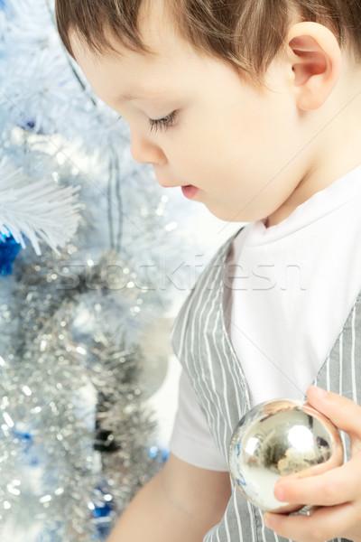 Heureux Noël belle faible Kid Photo stock © PetrMalyshev