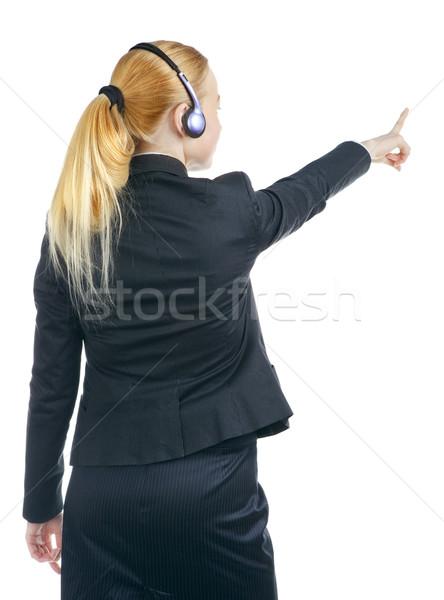 Operator Woman Pointing Stock photo © PetrMalyshev